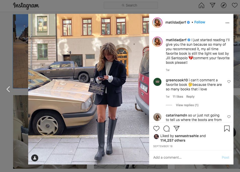 Example of influencer on Instagram: @matildadjerf