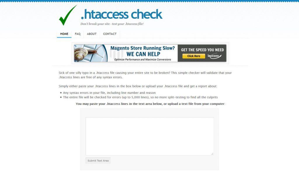 htaccess check website screenshot