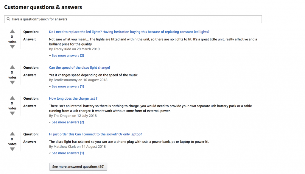 Amazon QA section