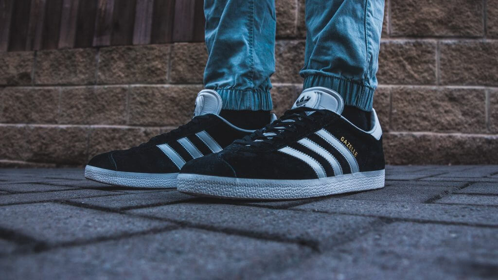 Close up of Adidas Gazekke trainers in black