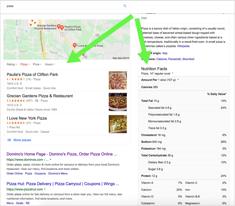 Google SERP for 'pizza'